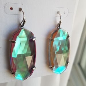 NWT KENDRA SCOTT FACETED SILVER DICHROIC EARRINGS